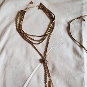 Guess Gold Necklace w/ Gray Suede & Gray Beads